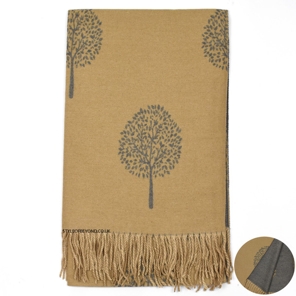 Ria Reversible Mulberry Tree Designer Inspired Scarf - Grey / Camel