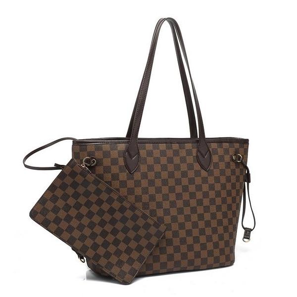 Neverfull Designer Inspired Tote Bag - Brown Check