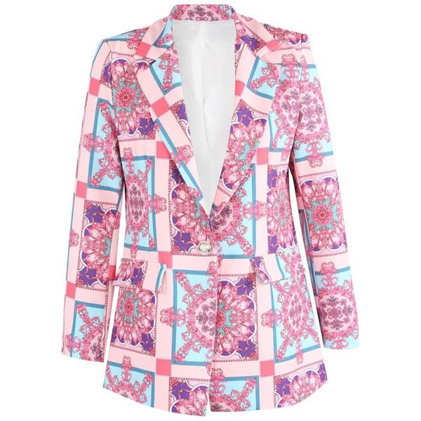 Annabelle Designer Inspired Scarf Print Blazer - Pink
