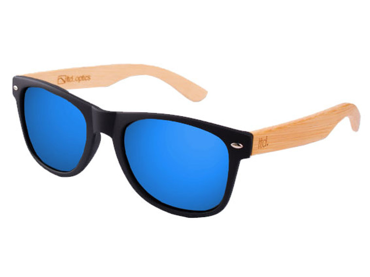 The Chameleon - Black with Blue Revo Lens and Natural Bamboo