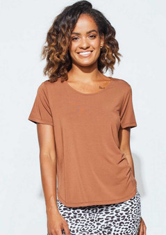 LOU LOU BAMBOO JANIS TEE IN TOFFEE