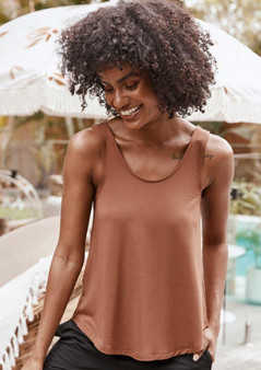 NATURAL bamboo ELLIE TOP IN TOFFEE