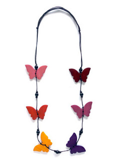 MULTI COLOURED BYTTERFLY MOTIF NECKLACE