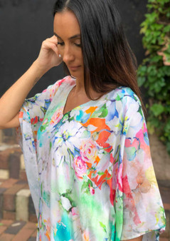 SHORT KAFTAN PLUS SIZE TOP - FLORAL PRINT