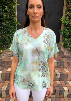 CLAIRE POWELL MODAL TOP IN KINGDOM PRINT