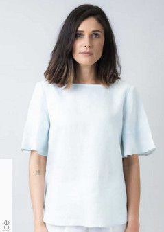 NATURALS BY OLIVE ET JULIE LINEN TOP #OJGA220 IN ICE COLOURWAY