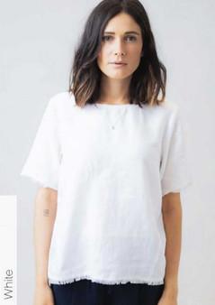 NATURALS BY OLIVE ET JULIE linen  short sleeve tops in White