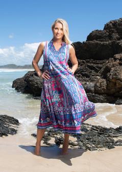 orientique  boho maxi dress in st tropez blue print