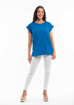 ESSENTIAL LINEN BLEND TOP IN FRENCH BLUE
