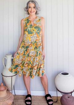 LOU LOU BAMBOO TIERED DRESS - LEAF PRINT - SIZE S/M