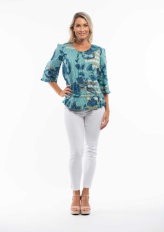 ARLES PRINT 3/4 SLEEVE COTTON TOP  BY ORIENTIQUE