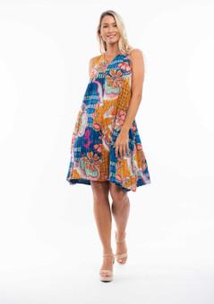 ORIENTIQUE 'ARLES' PRINT REVERSIBLE BEACH DRESS