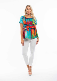 ORIENTIQUE A-LINE CONTEMPORARY TEE IN BOAT PRINT