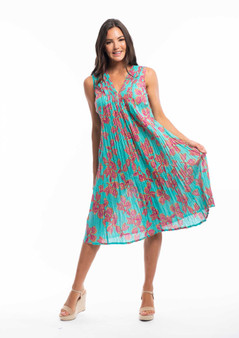 PLEAT FRONT DRESS BY ORIENTIQUE IN BARBAROUX PRINT