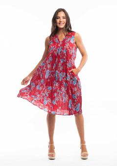 ORIENTIQUE cotton Pleat Dress in LA PONCHE RED PRINT