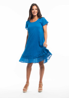ORIENTIQUE COTTON CAP SLEEVE DRESS IN FRENCH BLUE