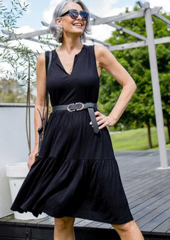 LOU LOU BAMBOO TIERED DRESS IN BLACK - SHOWN IN SIZE 10