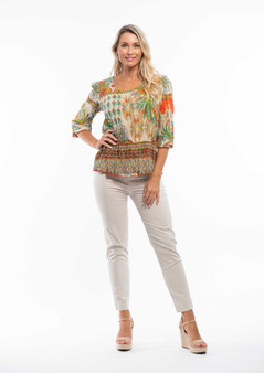 PAMPELONE 3/4 SLEEVE COTTON TOP