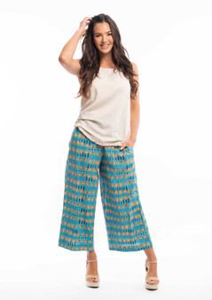 cropped Palazzo Pant in Canoubiers print