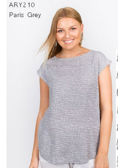paris grey print top