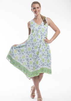 ORIENTIQUE ORGAIC COTTON BEACH DRESS - SIENA PRINT
