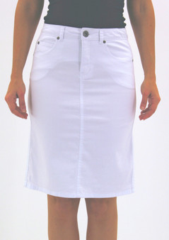 Cafe Latte Jeans Skirt CLM165 WHITE