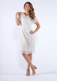 CL881 COLD SHOULDER LACE DRESS - WHITE