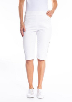 CLM167 SHORTS WITH ZIP DETAIL - WHITE