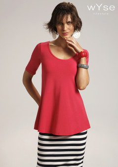 wyse 4136 A-line tee in RASPBERRY