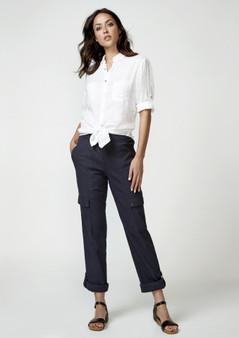 VERGE 3971 LINEN Blair Shirt - WHITE
