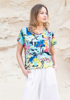 Orientique Cote Azure Print Cotton tee
