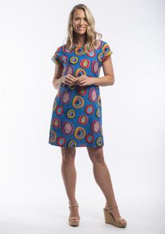Catalonia Blue Circle Print Dress