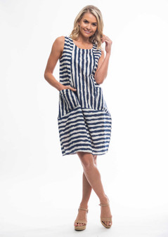 Striped Bubble dress Navy/White