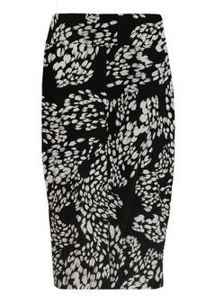Desiree Skirt in Paw Print  Black/Almond