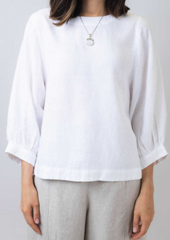 Naturals by OJ Elbow sleeve top in white
