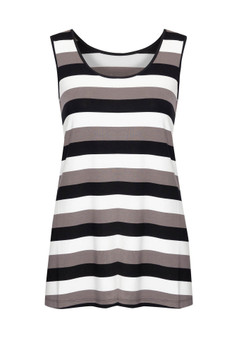 BAMBOO ALICIA SINGLET IN BLACK/GREY/WHITE STRIPE
