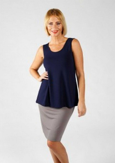 LOU LOU BAMBOO SKIRT IN GREY WITH ALICIA SINGLET IN NAVY