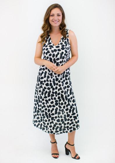 BONDI PRINT V-NECK DRESS