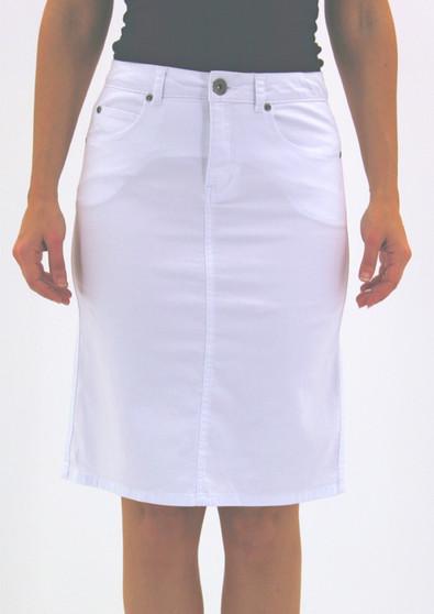 Cafe Latte Jeans Skirt CLM165 WHITE