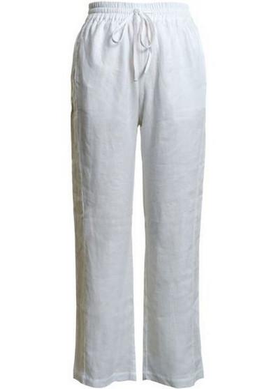 LINEN PULL UP PANT  white