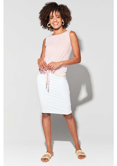 LOU LOU BAMBOO LINED WHITE SKIRT WITH BILLY TIE TOP IN CANDY
