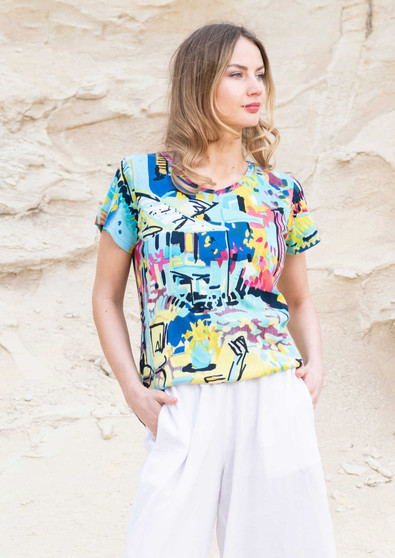 Orientique Cote Azure Print Cotton tee