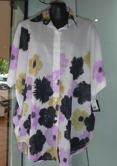 Animale Collared Overshirt in Mauve/Black Print