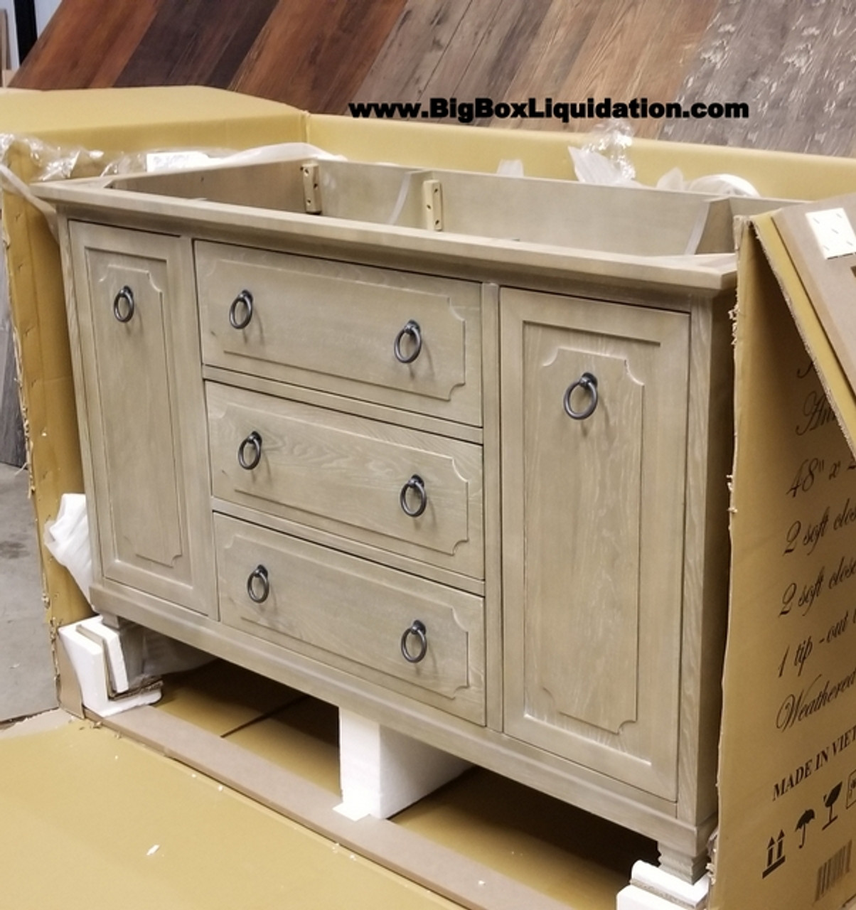Solid Wood Ann Stained Weathered Gray 48 In X 22 In All Drawers Slow Close Fully Assembled Bath Vanity Cabinet Only Big Box Liquidation Llc