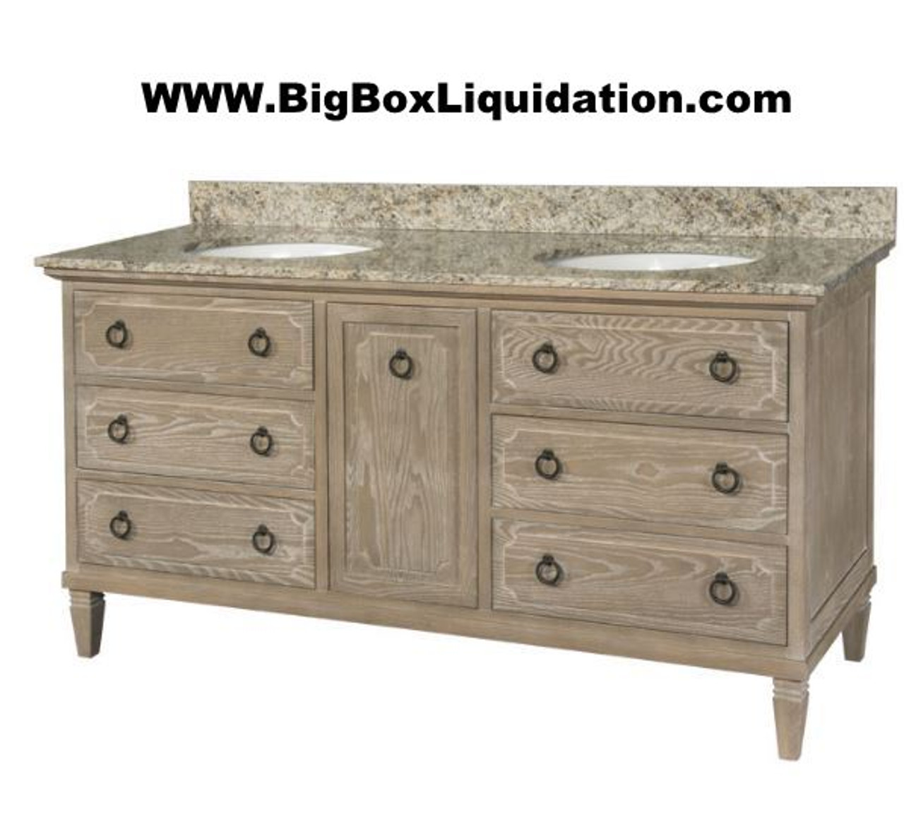 Solid Wood Ann Stained Weathered Gray 60 In X 22 In All Drawers Slow Close Fully Assembled Bath Vanity Cabinet Only Big Box Liquidation Llc
