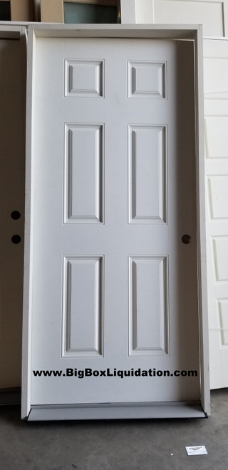 36 in. x 80 in. 6-Panel Left-Hand Inswing Primed White Smooth Fiberglass Prehung 4 9/16s in. Primed Poplar Jambs, Matching Oil Rubbed Bronze Hinges & Threshold Front Exterior Door