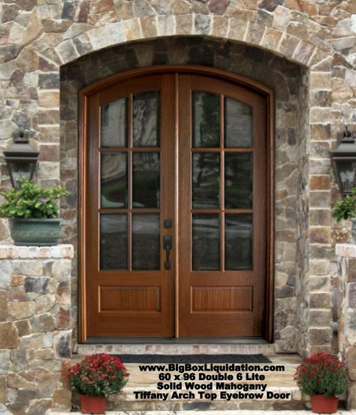 "Tiffany 60"" x 96"" Arch Top Eyebrow Pre-hung 6-Lite TDL Mahogany Wood Double French Doors  We Install Flooring, Doors, Baseboard, Crown Molding, Window and Door Trim, .... Alan Feild 615-800-1646"