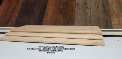 Stair Tread - #1 Common Grade Solid Red Oak Hardwood 5/4 x 1/2 x 36 Bull Nose Front Stair Tread