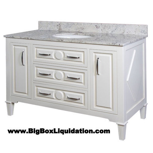 Solid Wood Mary Soft White Finish 48 in. x 22 in., All Drawers Slow Close, Fully Assembled, Bath Vanity Cabinet Only  Pallet Shipping to Your Location Available, 615-800-1646