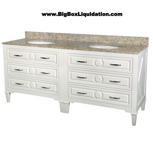 Solid Wood Mary Soft White Finish 72 in. x 22 in., All Drawers Slow Close, Fully Assembled, Bath Vanity Cabinet Only  Pallet Shipping to Your Location Available, 615-800-1646